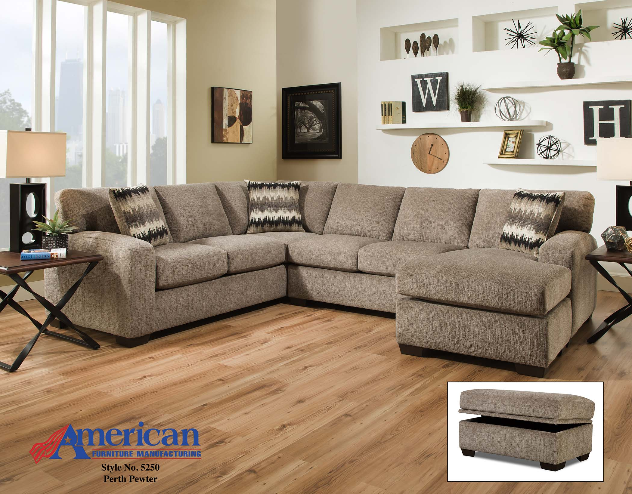 5250 Perth Pewter Sectional American Furniture Manufacturing