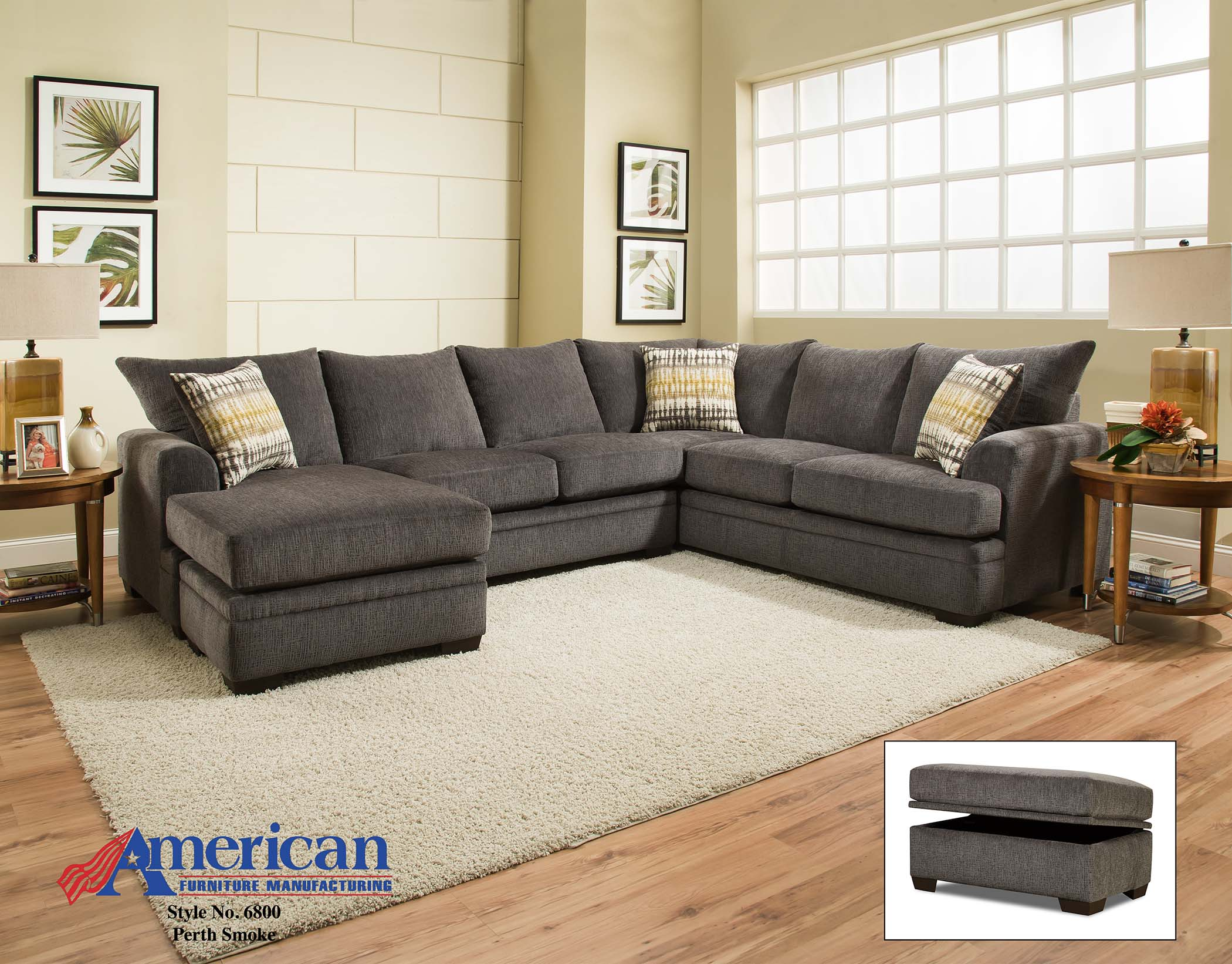 6800 perth smoke sectional american furniture for Affordable furniture manufacturing